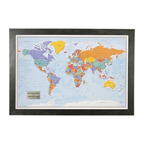 Personalized Push Pin World Travel Map with Rustic Black Frame and Pins - Blue Oceans - 27.5 inches x 39.5 inches