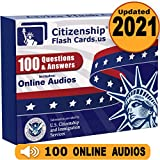 Us Citizenship Test Civics Flash Cards for the Naturalization Exam 2021 - Online Audios 100 Uscis Questions and Answers - Uscis N-400