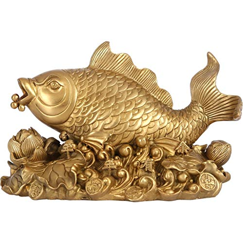 LJXLXY Feng Shui Dekoration Feng Shui Chinesische Karpfen/Koi Fisch/glückliche Fische Statue Öffnungs-Geschenk Ornamente Gemacht Fortune-Fisch-Crafts Ornamente Sammlerfigur Home Tisch Büro Feng Shui