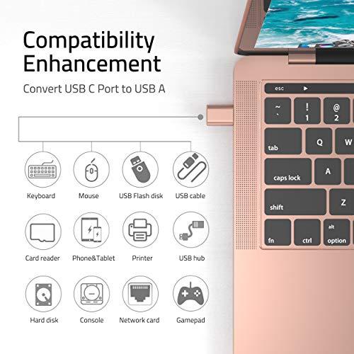 Syntech USB C auf USB Adapter[2 Stücke], Thunderbolt 3 to USB 3.0 Adapter Kompatibel mit MacBook Pro 2019, MacBook Air 2019/2018, Dell XPS - Roségold