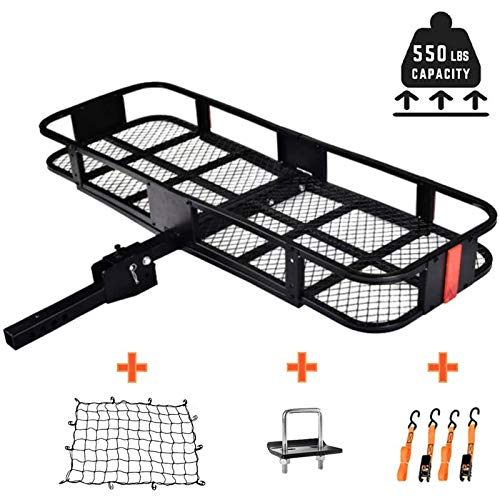 """OKIDA Hitch MountCargo Carrier, Folding Luggage Hitch Rack Basket Fits 2"""" Receiver for Truck Vehicle Car with Net, Hitch Stabilizer, Straps and 550LBS Capacity"""