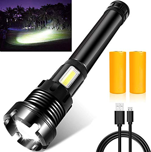 Rechargeable Led Flashlight, 90000 Lumens Super Bright Flashlights High Lumens with 26650 Batteries Included, 7 Modes, Zoomable, Waterproof Best Tactical Flashlight for Emergencies, Camping (Black)