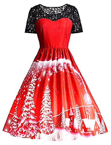 Womens Christmas Dresses 50s Vintage Snowflake Xmas Tree Print A-line Swing Dress Holiday Cocktail Party Dress (Large, A Santa Snow Red)