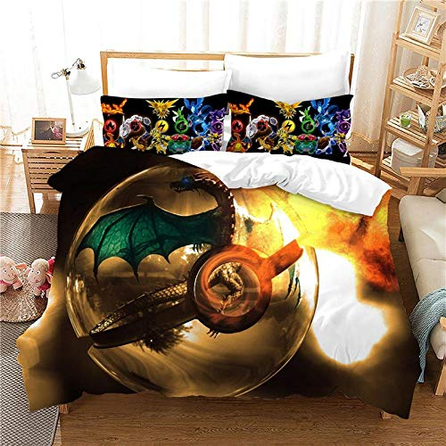 LOVEXOO Printed Duvet Cover Double bed and 2 Pillowcase Bed Set Cartoon pokemon 53.1x78.7 inches Ultra Soft Hypoallergenic Microfiber Bedding with Zipper Closure