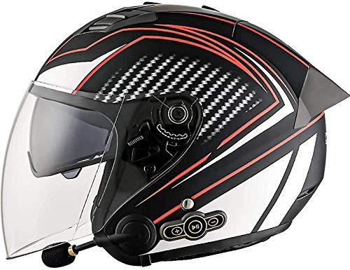 QDY 3/4 Bluetooth Cascos de Motocicleta Casco de Motocicleta de Cara Abierta Aprobado por Dot/ETE Medio Casco Altavoz Incorporado Auriculares Micrófono para Respuesta automática