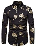 WHATLEES Herren Langärmlig golden Barock Print Hemden, 02010186xblack, S