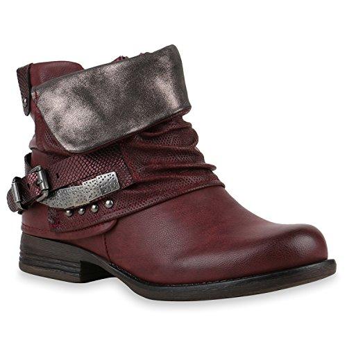 Damen Stiefeletten Biker Boots Schnallen Nieten Knöchelhohe Stiefel Leder-Optik Schuhe 120528 Dunkelrot 36 Flandell