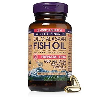 Wiley's Finest Wild Alaskan Fish Oil - Prenatal Mini DHA, 720mg EPA + DHA Omega-3s, 120 Softgels