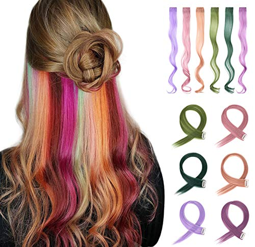 XBwig 6 Colors 6 Pcs in Set Colorful Clip in Hair Extensions Colored Hair Extensions for Kids Rainbow Hair Extension Multi-Colors Party Highlights Synthetic Hairpieces Curly Wavy -Light