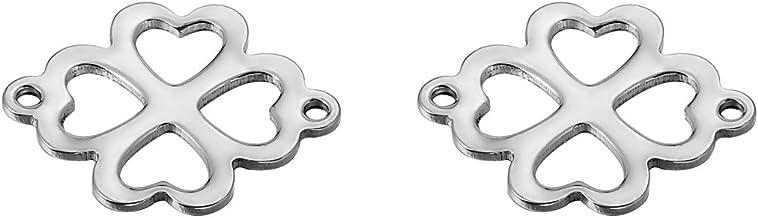3 cierres de acero inoxidable con forma de coraz/ón para joyer/ía 16 mm x 11 mm Shengyaju