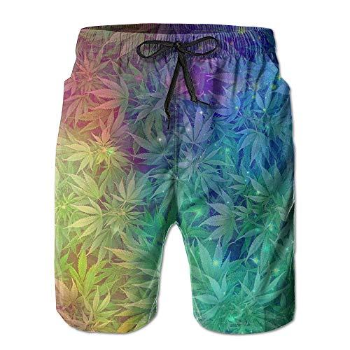 Qfunny Galactic Nebula Cannabis Weeds Elastic Waist Men Boardshorts Quickly Drying Swim Trunks Board Shorts with Pocket Herrenshorts am Strand