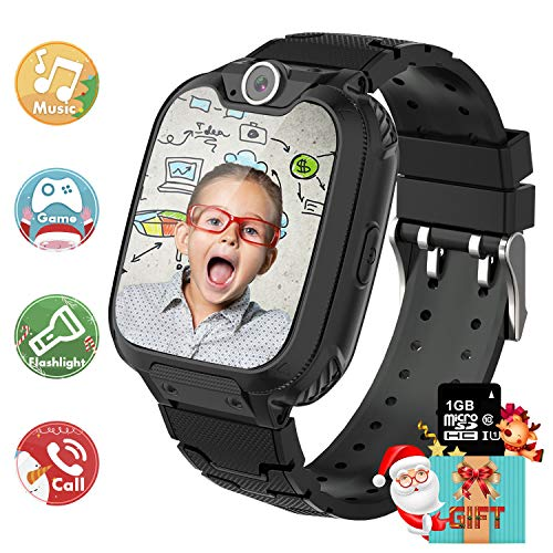 Kids Smart Watch Music Player with SD Card HD Touch Screen Sports Smartwatch Games Two-Way Call Camera Recorder Alarm Clock Music Player Calculator for Birthday Gift Toys Children Boys Girls (BLACK)