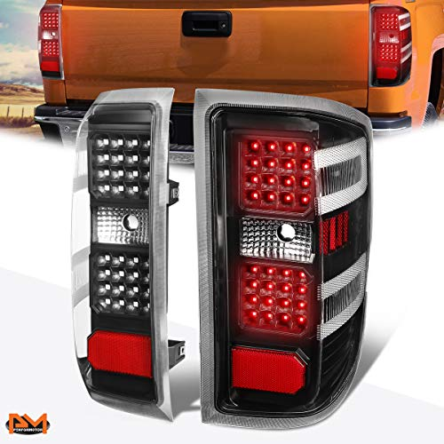 Compatible with Chevy Silverado/GMC Sierra 14-19 Full LED Tail Light Rear Brake Lamp Black