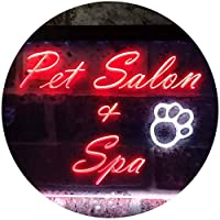 Pet Salon and Spa Illuminated Dual Color LED看板 ネオンプレート サイン 標識 白色 + 赤色 300 x 210mm st6s32-i0593-wr