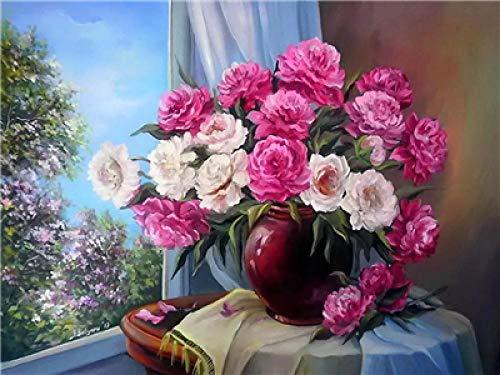 Schilderen op cijfers, bloemen, vensterbank, olieverfwerk, knutselen, voor kinderen, volwassenen, geschenken, decoratie, huis, kantoor, kunst, crafts voor lijsten, 40 x 50 cm