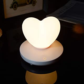 Uonlytech 1 lámpara nocturna con forma de corazón de silicona con forma de corazón para casa de color blanco
