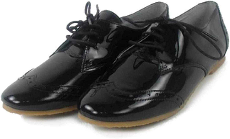 JUNIC Schuhe Schnürer schuhe Brit Derby Schwarz Lack Echtes Leder Spain J0269VAIv
