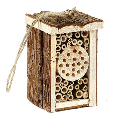 Pet Ting Small Wooden Insect Hotel Eco Friendly House Natural for Bee Butterfly 16.5cm
