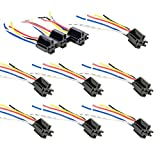 10 Pack - Bosch Style 12V DC 5-PIN SPDT Interlocking Relay Socket Harness Base (with Wires)