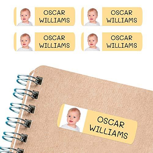 50 Etiquetas Adhesivas personalizadas, con foto o imagen, de 6 x 2cms, para marcar objetos, libros, fiambreras, etc. Color Carne