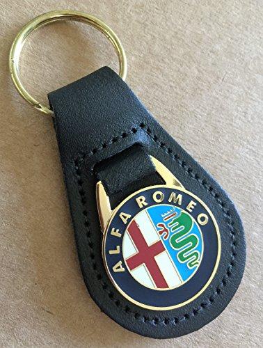 Portachiavi per chiave elettronica Alfa Romeo, in vera pelle, con anello