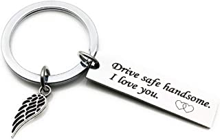Stainless Steel Drive Safe Keychain I Love You Keychains for Boyfriend Valentines Day Key Chains Husband Father Car Key Rings
