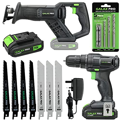 GALAX PRO Cordless Power Tool Kit, 20N.m Single Speed Drill Driver 20V, Reciprocating Saw 0-3000SPM, 1.3Ah Li-ion Battery and Charger-for DIY and Home Tools