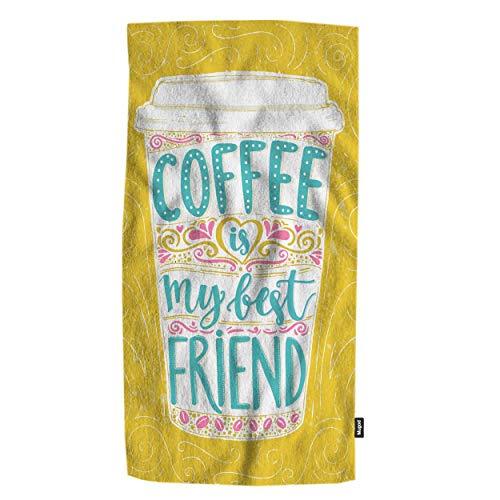 Mugod Coffee is My Best Friend Bath Towel Fun Quote Lettering in Tall Coffee Mug Decorative Soft Highly Absorbent Luxury Bath Towels Home Hotel Spa Bathroom Shower Towel 32x64 Inch