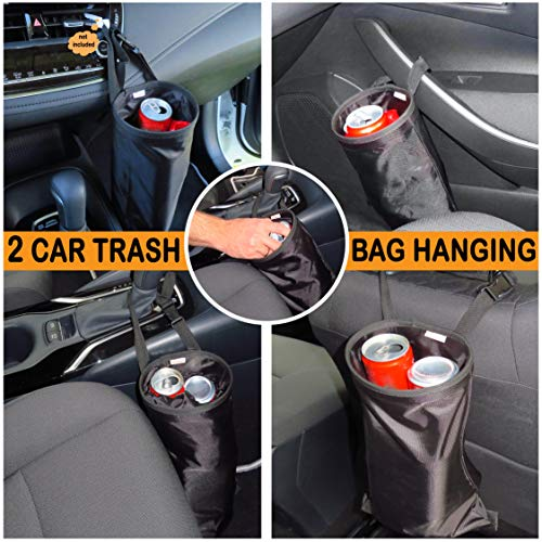 B-comfort 2 Car Trash Bags-Hanging Detachable Garbage Bag Container for Auto Truck SUV Vehicle Back Seat Headrest with 2 Purse Holders Hooks as Bonus-Patented Design-Adjustable,Durable,Washable,Black