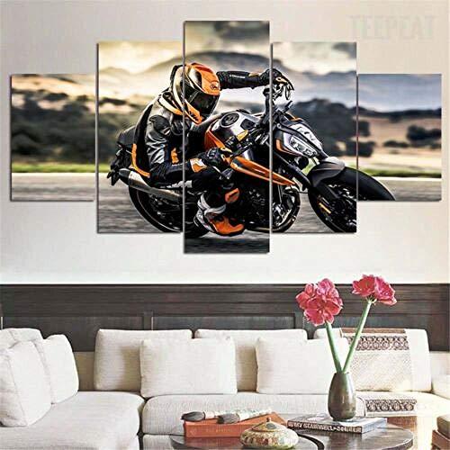 Yywife Leinwanddrucke-Breite:150Cm,Höhe:80Cm|Moderne Dekoration Leinwand Poster 5 Stück Wandkunst Gerahmtes KTM 790 Duke Bike Motorrad 5 Teilige Wandbilder Bild Schlafzimmer