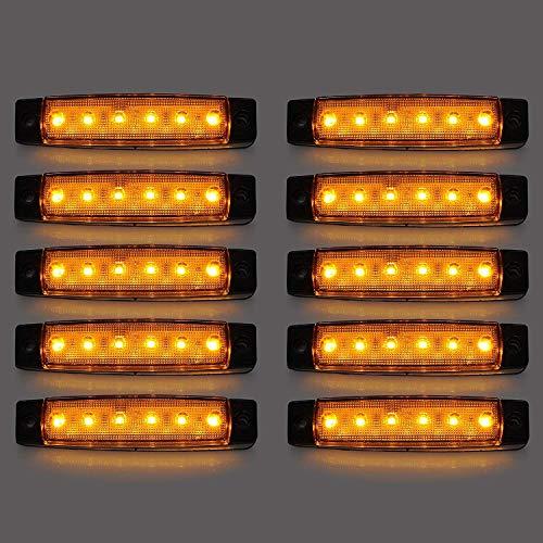LED-Seitenmarkierungsleuchten, 10 Stücke LED Lkw Seitenlichter 6 SMD LED Seitenmarkierungs-kontrollleuchte Vorne Hinten Seitenlicht Positionslampen 12 V für Auto (Gelb)
