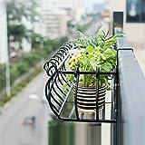WZBL Blumen-Rahmen-Betriebsstand-Schmiedeeisen-Zaun, Der Saftigen Blumen-Topf-Gestell-Balkon-Geländer-Wohnzimmer-Innenwand-hängendes Blumen-Regal Hängt,Black80*28 * 20cm