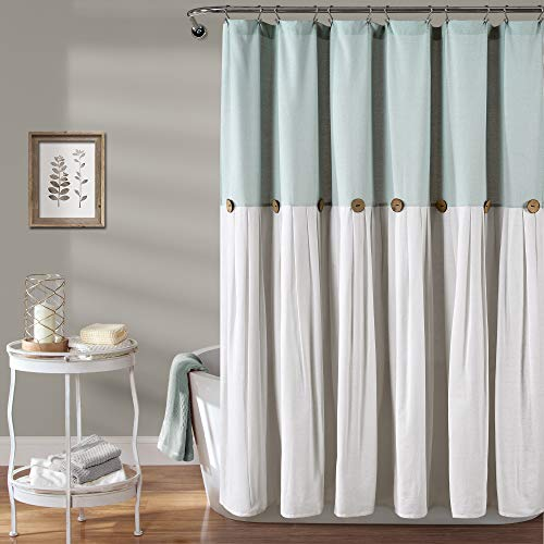 "Lush Decor Linen Button Shower Curtain, 72"" x 72"", Blue & Off-White"