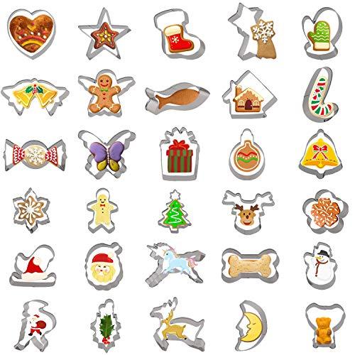 YILEEY 30 Stück Plätzchenausstecher Set, Edelstahl Ausstechformen Weihnachten, Tierförmiger Keksausstecher. kinder Plätzchenausstecher für Kekse, Kuchen, Sandwiches, Weihnachten, Halloween. MEHRWEG
