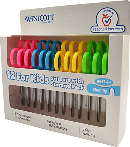 "Westcott School Left and Right Handed Kids Scissors, 5"" Blunt, Pack of 12, Assorted"