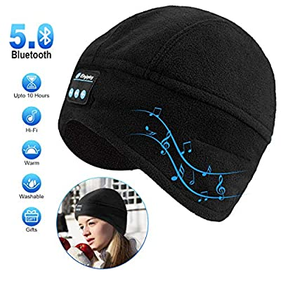 Bluetooth Beanie Hat, Winter Mens Womens Gifts Bluetooth Hat V5.0 Hand Free Wireless Headphone Beanie with Bluetooth Speakers Compatible with iPhone Samsung Android Cell Phones by SYIHLON