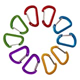 10PCS Keychain Clips Mini Carabiner - 1 5/8inch Aluminum Durable Quick Release Auto Locking D-shape Spring Loaded Wire Gate Clip for Home, Rv, Camping, Fishing, Hiking, Traveling and Sports Outdoors
