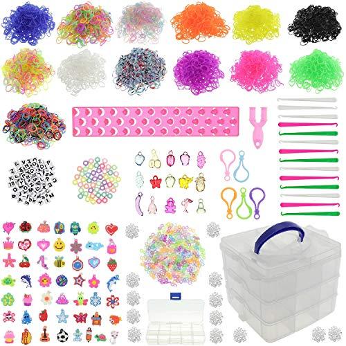 behave® 8000 XXL Loombänder Kasten Set -- Webrahmen - Sammelbox - 15 Häkelnadeln - 65 Anhänger - 690 S-Clips - 100 Perlen - 5 Rucksackclips