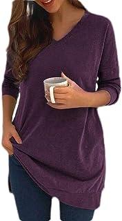 Loyomobak Women's Long Sleeve Solid Tee V Neck Split Tops Blouse T Shirts