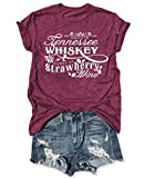 Country Music Cute Funny Graphic T Shirt Tops for Women Friend Tennessee Whiskey Strawberry Wine Tee Shirt Tunic (M, Red)