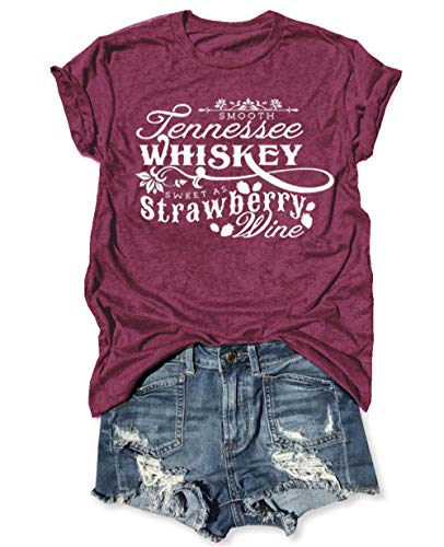 Country Music Cute Funny Graphic T Shirt Tops for Women Friend Tennessee Whiskey Strawberry Wine Tee Shirt Tunic (XL, Red)
