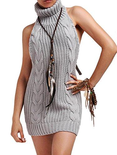Cheerlife Damen Pullover Jumpsuit ärmellose Rückenfrei Turtleneck Strickpullover Backless Open Back Sweater Cosplay Pullover XL Grau