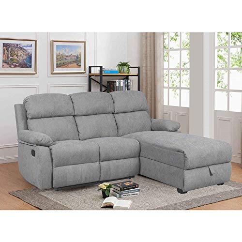 Divano Relax con penisola e contenitore portaoggetti in tessuto Keaton, angolo retto (grigio)