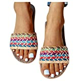 Sandalias Planas Mujer Bohemia Bowknot Lino Chanclas Verano Zapatos Playa, Sandalias Zapatilla Verano