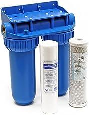 Naturewater NW-BR10B2 dubbele filter 1 inch (32,89mm) PP cartridge, actieve koolstof, moersleutel
