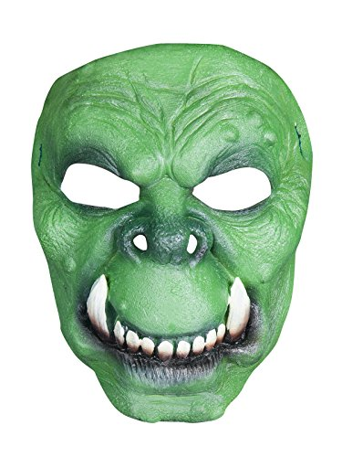 Ork Halloween Latex Maske Halbmaske Troll grün beige