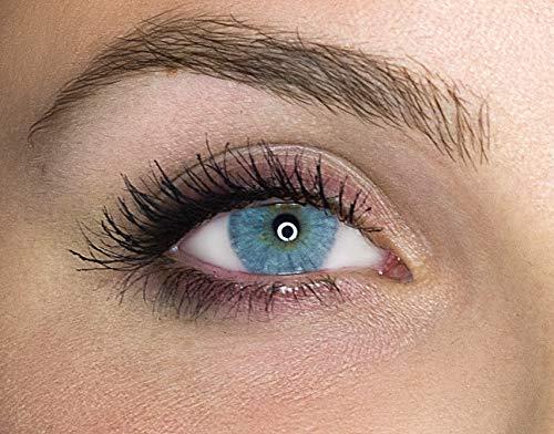 Kontaktlinsen farbig ohne Stärke farbige Jahreslinsen weiche Linsen soft Hydrogel 2 Stück Farblinsen + Linsenbehälter 0.0 Dioptrien natürliche Farben Serie Queen Icy Gray (hellgrau)