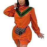 Women's Windbreaker Jackets Casual Long Sleeve Lightweight Zipper Front Stripe Patchwork Outerwear Coats Orange Medium