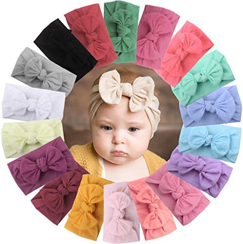 DeD 18 Pieces Nylon Newborn Headbands Hair Bows Elastics Soft Bands Headwraps for Newborns Infants product image