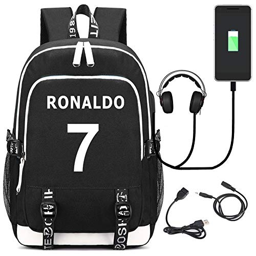 ULIIM Football Star CR7 Mochila Mochilas De Carga USB Bolsa De Computadora De Hombro para Estudiantes